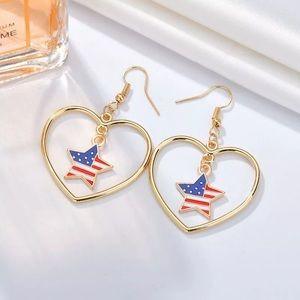 3️⃣@$30 American Flag Star Heart Dangle Earrings